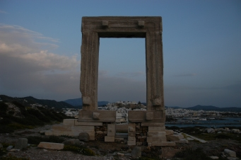 The castro of Naxos, viewed through the gateway of the Temple of Zeus Naxos